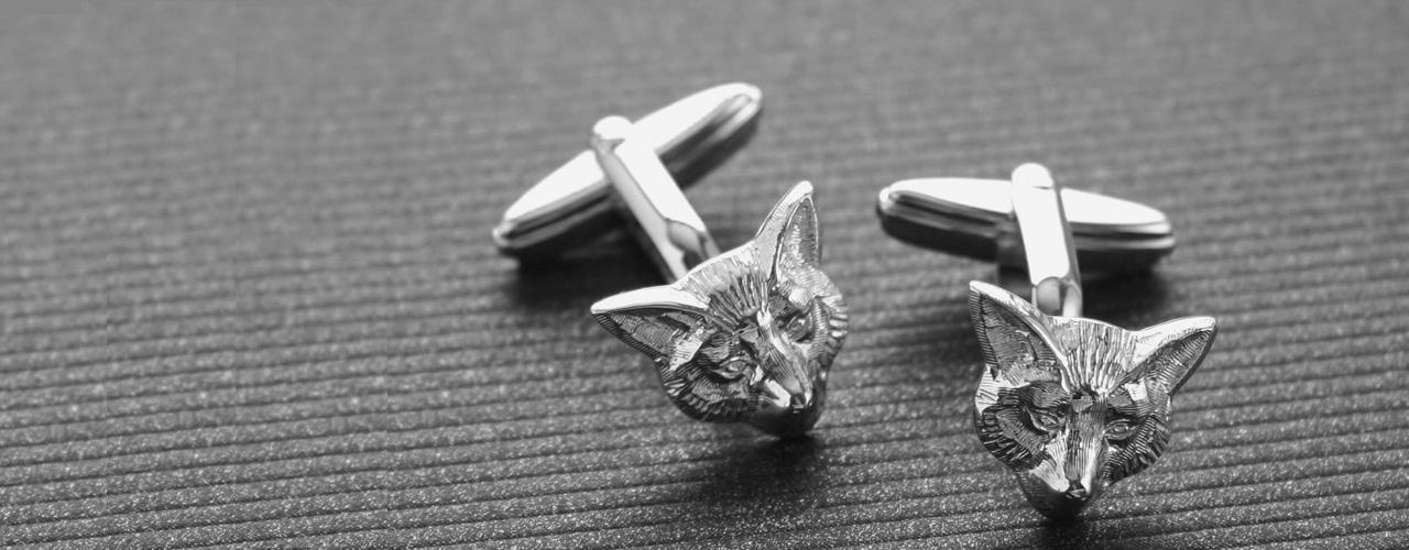 Fox Head Silver Cufflinks