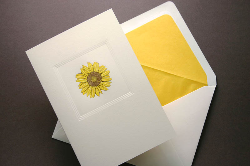 HAND ENGRAVED SUNFLOWER GREETING CARD