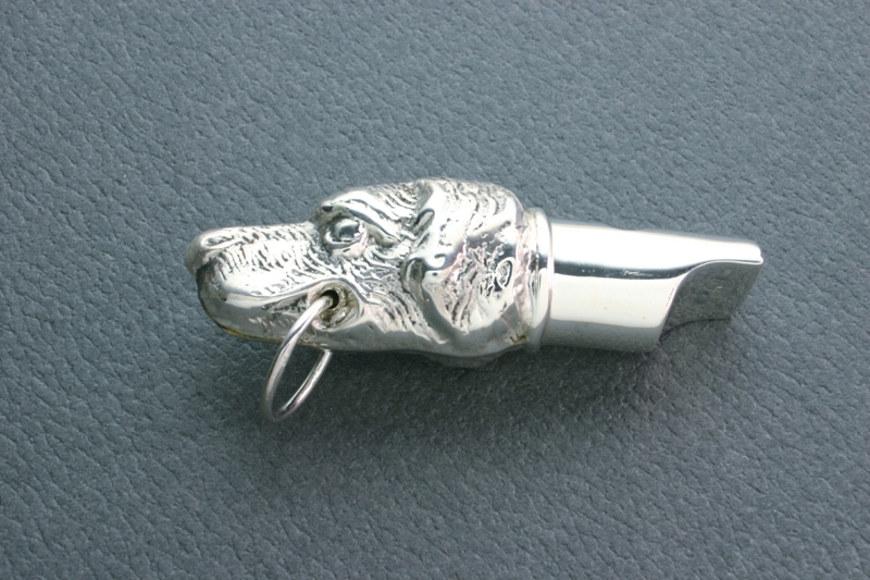 SILVER DOG'S HEAD WHISTLE