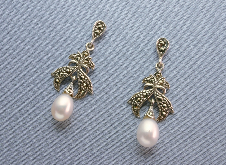 SILVER, MARCASITE PEARL EARRINGS