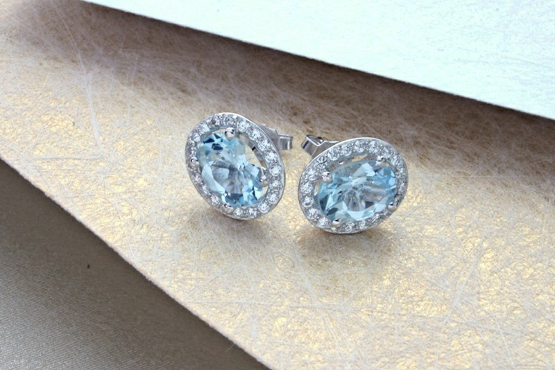 EARRINGS IN SILVER & BLUE TOPAZ