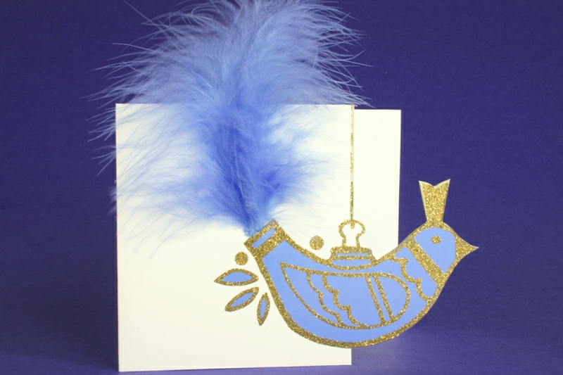 XMAS CARD BIRD WITH FEATHER TAILHER