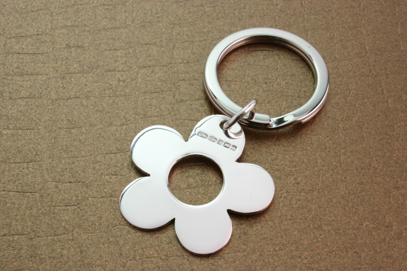 Gifts For Her, Flower, Keyring, Silver Flower Keyring