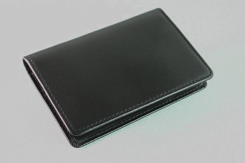 Travel Card Holder Black Leather