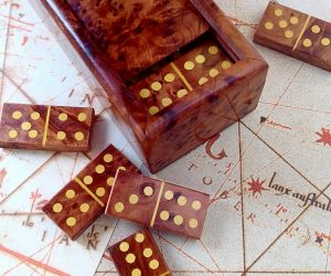 wooden dominoes game box