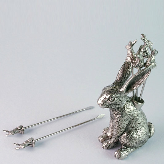 Hare Cocktail Stick, Polished Pewter
