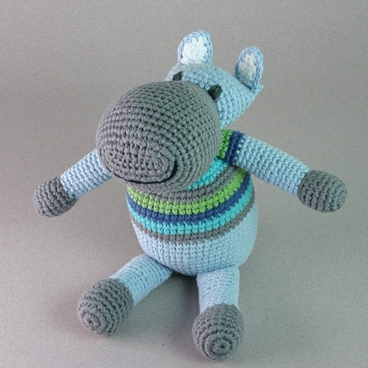 Hippo Blue Stripey Soft Toy