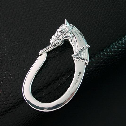 SILVER HORSE HEAD KEYFOB
