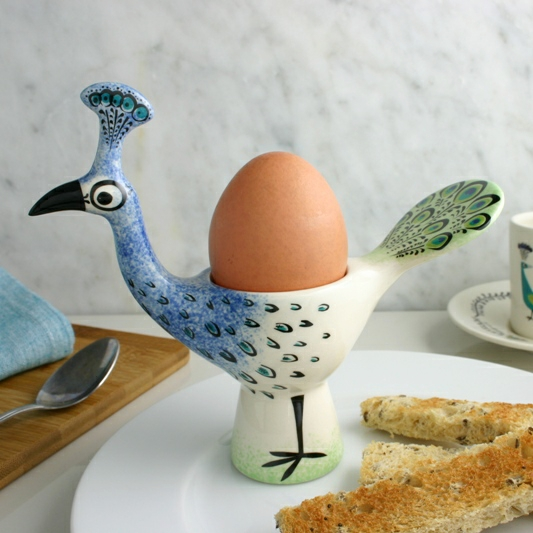 PEACOCK EGG CUP BY HANNAH TURNER