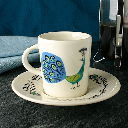 Peacock Espresso Cup & Saucer By Hannah Turner