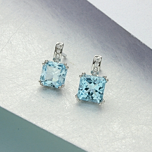 Blue Topaz Earrings Square Cut Stone