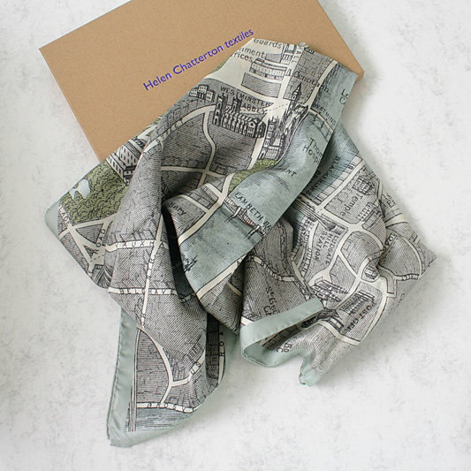 Vinatge London Map Silk Scarf, Ladies Gift Idea, Luxury Silk Scarf, Ladies Silk Scarf