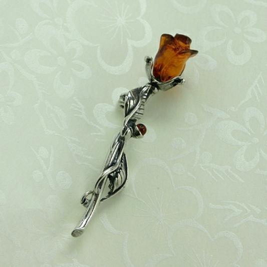 Rose Amber Silver Brooch, Amber Brooch, Silver Brooch