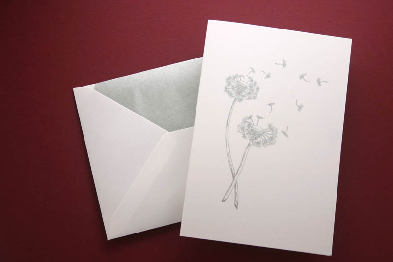HAND ENGRAVED DANDELION GREETING CARD