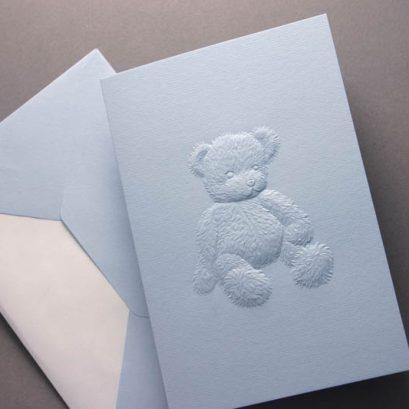 BLUE TEDDY GREETING CARD