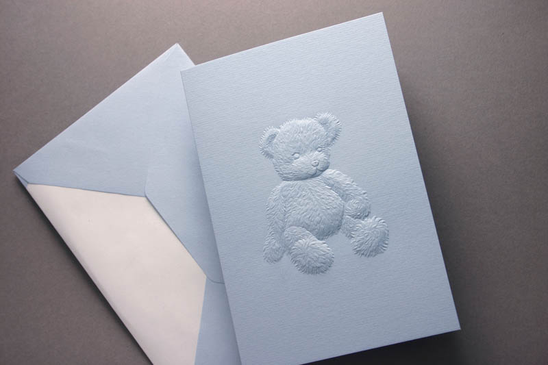 BLUE TEDDY GREETING CARD
