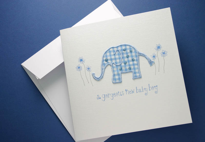 GINGHAM BABY ELEPHANT GREETING CARD