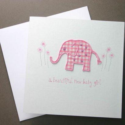GINGHAM BABY ELEPHANT GREETING CARD