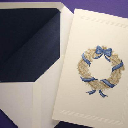 HAND ENGRAVED WREATH CHRISTMAS CARD