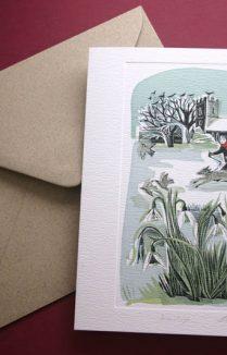 CHURCH YARD SNOWDROPS GREETING CARD
