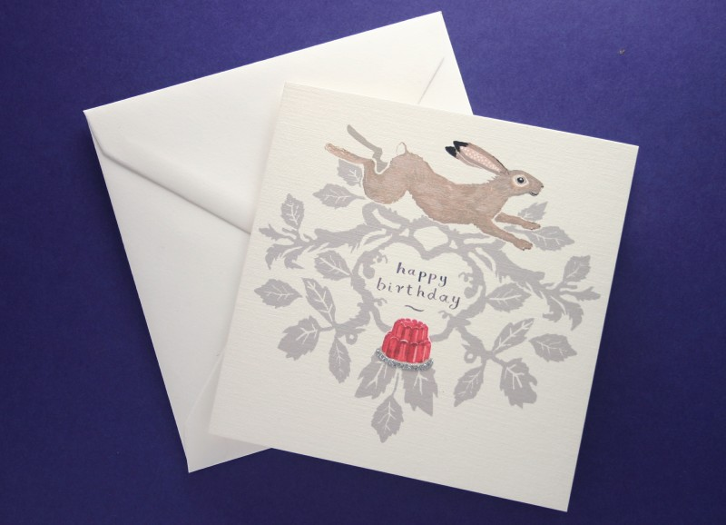 LEAPING HARE BIRTHDAY CARD