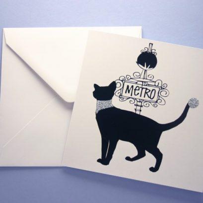 PARISIAN BLACK CAT GREETING CARD