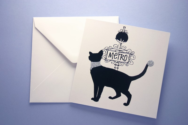PARISIAN BLACK CAT GREETING CARD
