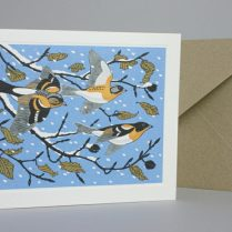 SNOWY SCENE WITH BIRDS GREETING CARD