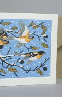 SNOWY SCENE WITH BIRDS GREETING CARD