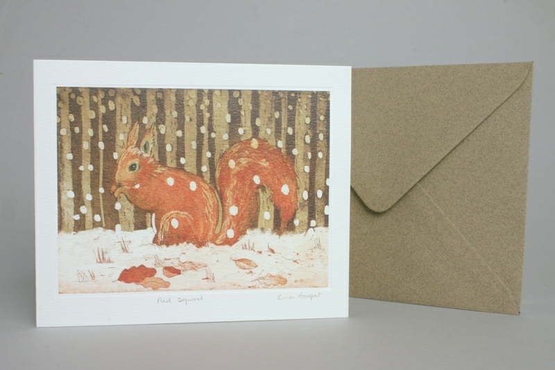Red Squirrel Snowy Scene Greeting Card