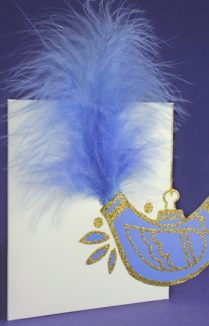 CARD WITH BIRD AND FEATHER TAIL