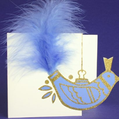 BIRD WITH FEATHER TAIL CHRISTMAS CARD