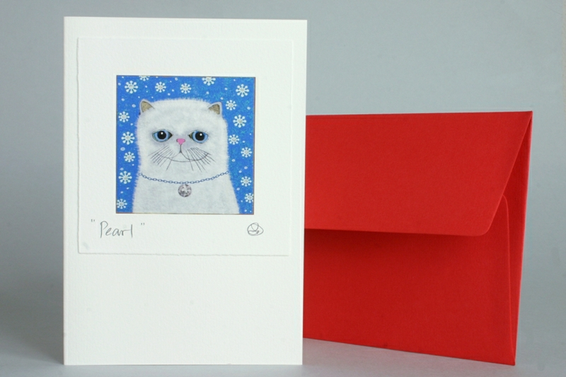 CHRISTMAS CARD WITH WHITE CAT