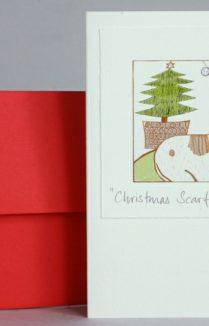DOG & CHRISTMAS TREE CARD