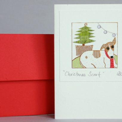 DOG & CHRISTMAS TREE CARD