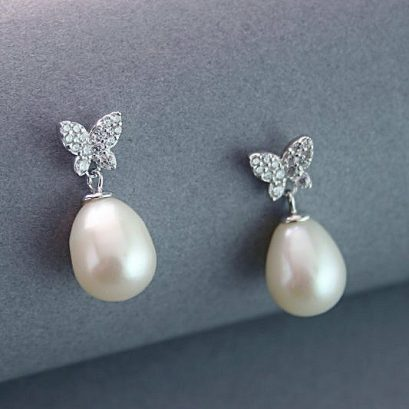 BUTTERFLY SILVER EARRINGS PEARL DROP