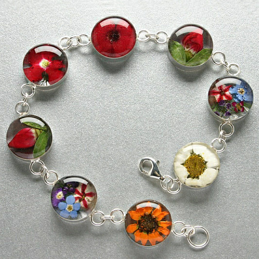 Flower Bracelet Made With Real Flowers And Silver