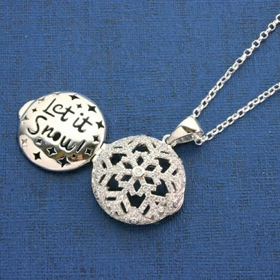 Snowflake Locket Silver And Cubic Zirconias. Gifts For Her