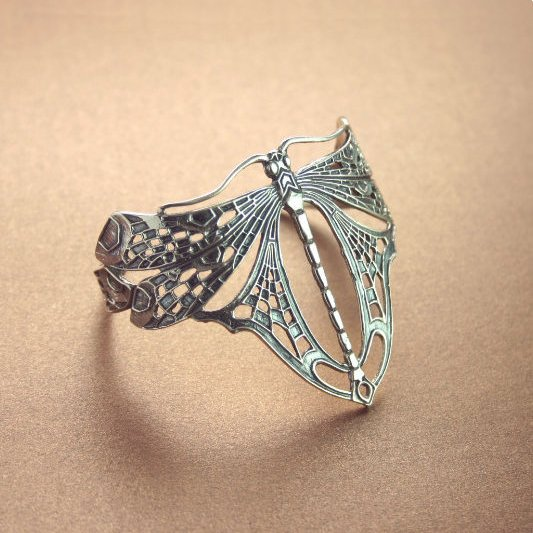 STERLING SILVER DRAGONFLY BANGLE