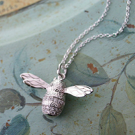 Silver Bee Pendant, Honey Bee, Queen Bee, Special Gift