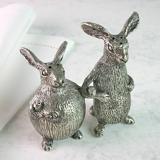 Salt - Pepper Pots Hares Polished Pewter