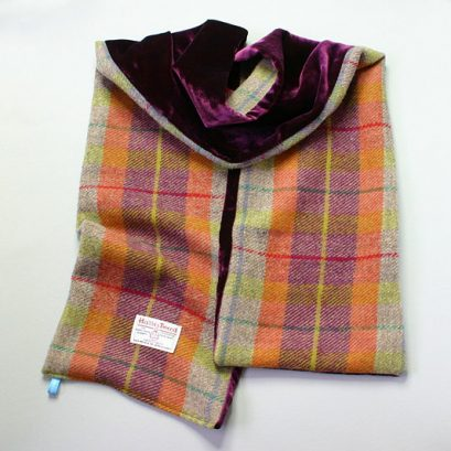 HARRIS TWEED-VELVET SCARF