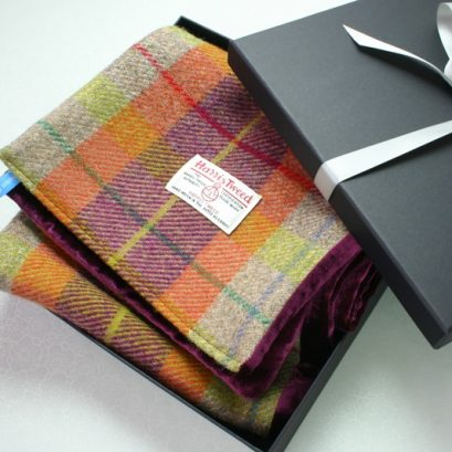 Harris Tweed And Velvet Scarf