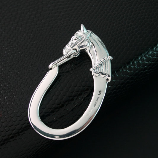 Sterling Silver Horse Head Key Fob