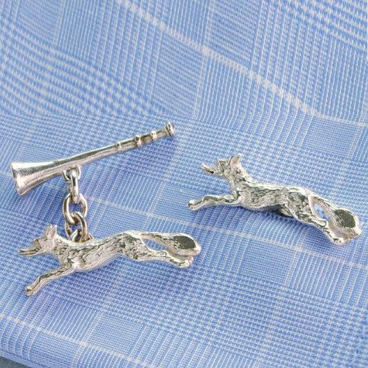 Hunting Cufflinks Fox & Horn Sterling Silver