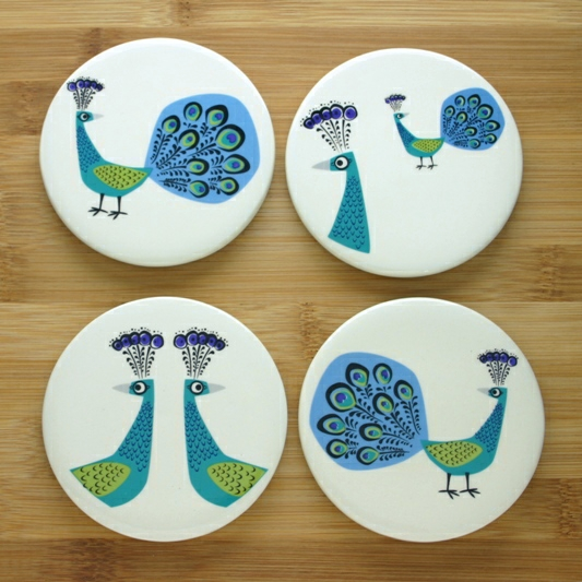 Coasters Set Of Four Peacock Design By Hannah Turner