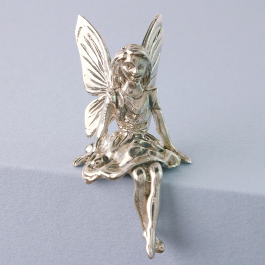 Sitting Fairy Miniature In Silver, Fairy Shelf Ornament, Childs Keepsake, Silver Fairy, Silver Fairy Figure