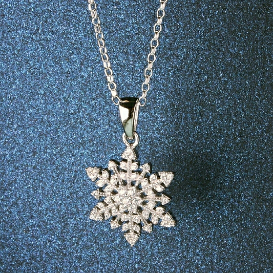 Snowflake pendant necklace with sparkly cubic zirconias