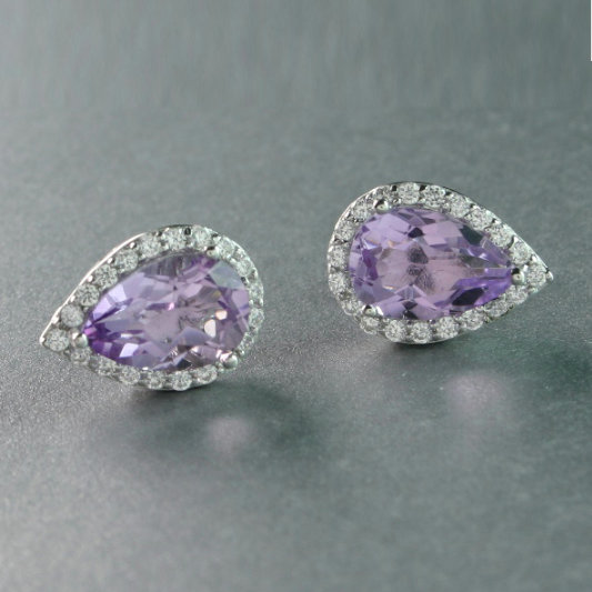 Amethyst Earrings With Cubic Zirconias