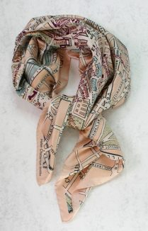 Parsi Vinatge Map Silk Scarf, Ladies Silk Scarf